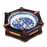 DZX Cenicero de Moda, Cenicero de cerámica con Base de Madera Maciza, Cenicero de Escritorio clásico anticuado Hexagonal