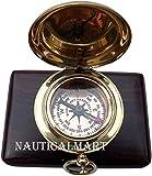NauticalMart Brass Compass Push Button Engravable Direction Pocket Compass