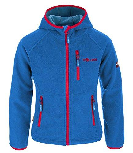 Trollkids Kinder Fleece-Jacke Stavanger mit Kapuze, Mittelblau/Rot, Größe 104