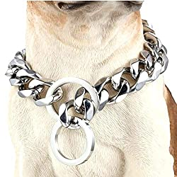 GZMZC 10/12/15/17/19mm Strong 316L Stainless Steel Curb Cuban Link Chain Dog Choker Collar 12-36inch