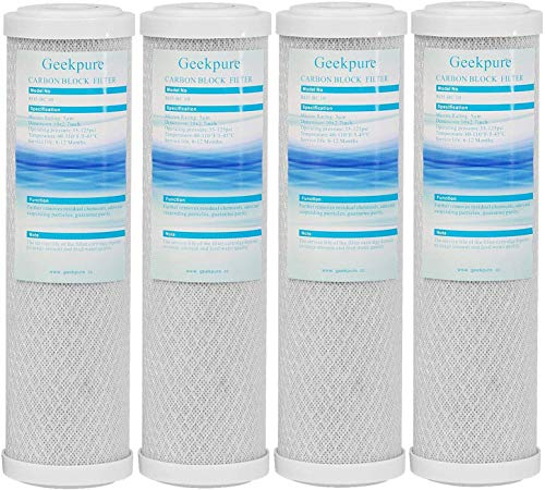 Geekpure Carbon Block Replacement Filter Cartridge for RO and Under Sink & Countertop Water Filtration System -2.5  x 10  -Pack 4-5 Micron