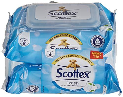 Scottex Fresh Papel Higiénico Húmedo - 2 paquetes de 74 servicios ✅