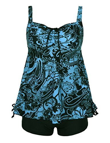 Septangle Women's Plus Size Bathing Suits Paisley Print Two Piece Swimsuit (22, Blue)