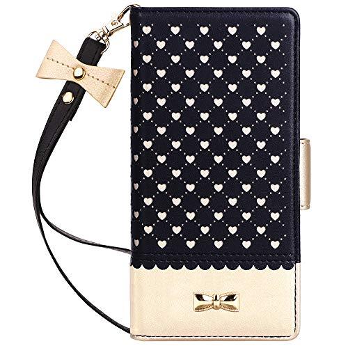 Jasilon Samsung Galaxy Note 10+ Plus Case/Note 10+ Plus 5G Case, [Deluxe Love] Flip Folio Wallet Case with [Mirror] [Kickstand] Leather case for Galaxy Note 10 Plus/10 Plus 5G 6.8''(2019)-Black