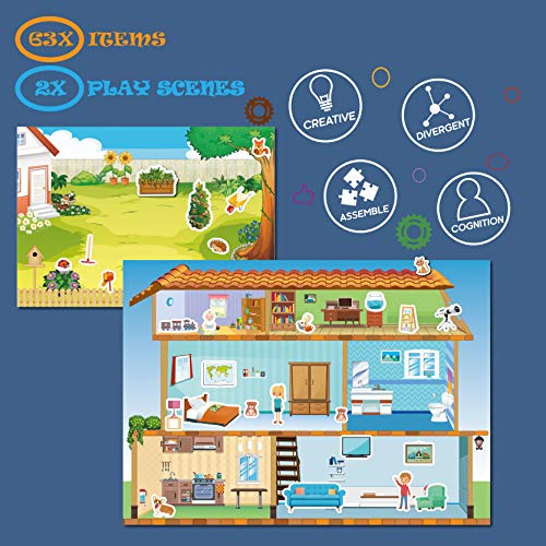 Magnetic Portable Playboard Doll House Family Magnets for Todder Kids...