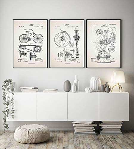 WallBuddy - Juego de 3 pósteres de ciclismo para bicicleta,