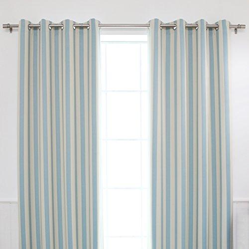 Best Home Fashion Room Darkening Verticale Streep Gordijnen - Roestvrij staal Nikkel Grommet Top - Biscuit/Sky Blue - 52