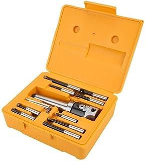 Boring Drill Bits Set, Arbor Adapter Taper Shank F1-12 50mm Boring Head 9pcs 12mm Boring Bar Set for CNC Milling Tools