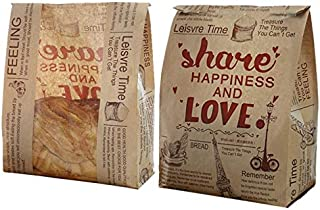 Pack of 30 Paper Bread Loaf Bag Kraft Food Packaging Storage Bakery Bag with Front Window, Label Seal sticker included (Style-8)
