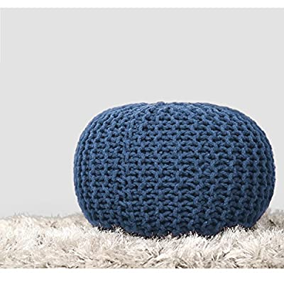 RAJRANG BRINGING RAJASTHAN TO YOU Pure Cotton Stuffed Pouf - Hand Knitted Braided Cotton Cord Round Modern Ottoman Small Space Bedroom Decorative Seating - Blue - 16 X 11 inch
