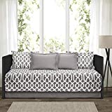 "Lush Decor Edward Trellis Patterned 6 Piece Daybed Cover Set Includes Bed Skirt, Pillow Shams and Cases, 75"" X 39"", Gray"