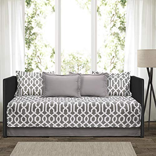 Lush Decor 16T001867 Edward Trellis Patterned 6 Piece Daybed Cover Set Includes Bed Skirt, Pillow Shams and Cases, 75' X 39', Gray