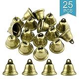 Faxco 25Pcs 38mm Vintage Bronze Jingle Bells,Craft Bells for Doorbell Potty Training,Housebreaking,Making Wind Chimes,Christmas Bekk and etc