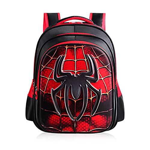 Kdiaodeng Superhéroe Spiderman Bookbags Estudiantes Anime Escolar Mochila Impresión 3D Impresión Ocio Mochila Niños Dibujos Animados Lienzo Mochila,Red-43 * 16 * 32cm