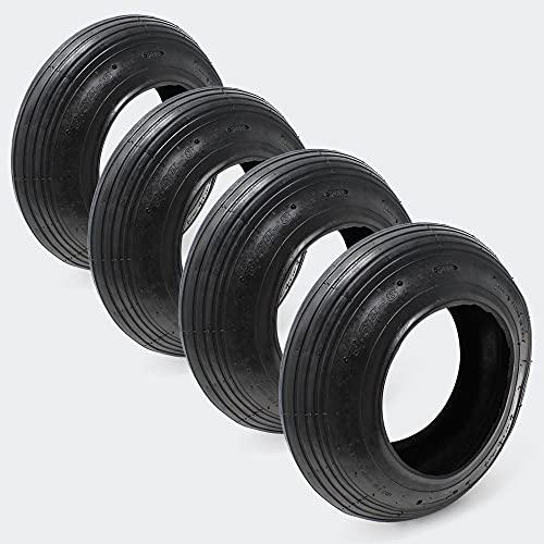 WilTec 4X Cubierta para neumáticos de Carretilla Aire Ruedas Carretilla 3.50-8 Ruedas carretillo Accesorios