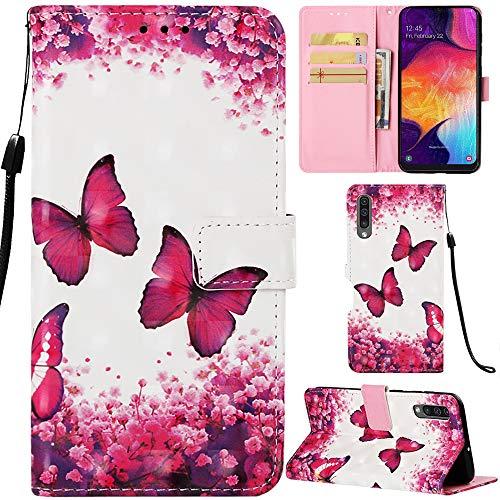 DodoBuy Samsung Galaxy A50 Hülle 3D Flip PU Leder Schutzhülle Stand Handy Tasche Brieftasche Wallet Hülle Cover für Samsung Galaxy A50 - Schmetterling Rose