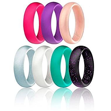 ROQ Silicone Wedding Ring For Women, Set of 7 Silicone Rubber Wedding Bands - Black with Glitter Sparkle Pink Turquoise, White, Metal Look Silver, Purple, Pink, Rose Gold - Size 6