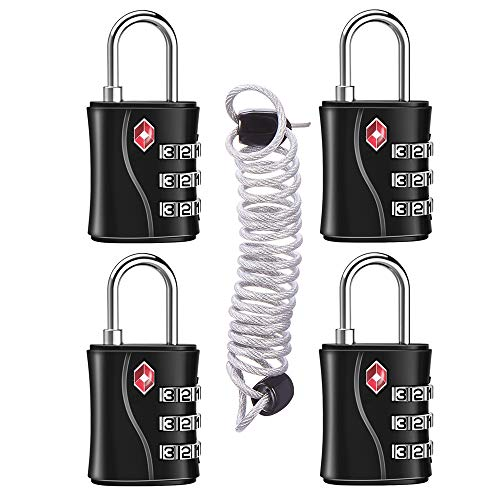 ZHEGE TSA Approved Luggage Locks, 3 Digit Small Travel Padlock with Flexible Cable (80cm) for Suitcases, Backpack, Baggage