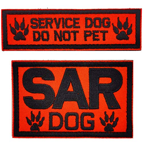 2 Pcs Dog Patches with Hook Loop Fastener-SAR Dog Service Dog Do Not Pet Military Tactical Badge Patch for Dog Vest Harness
