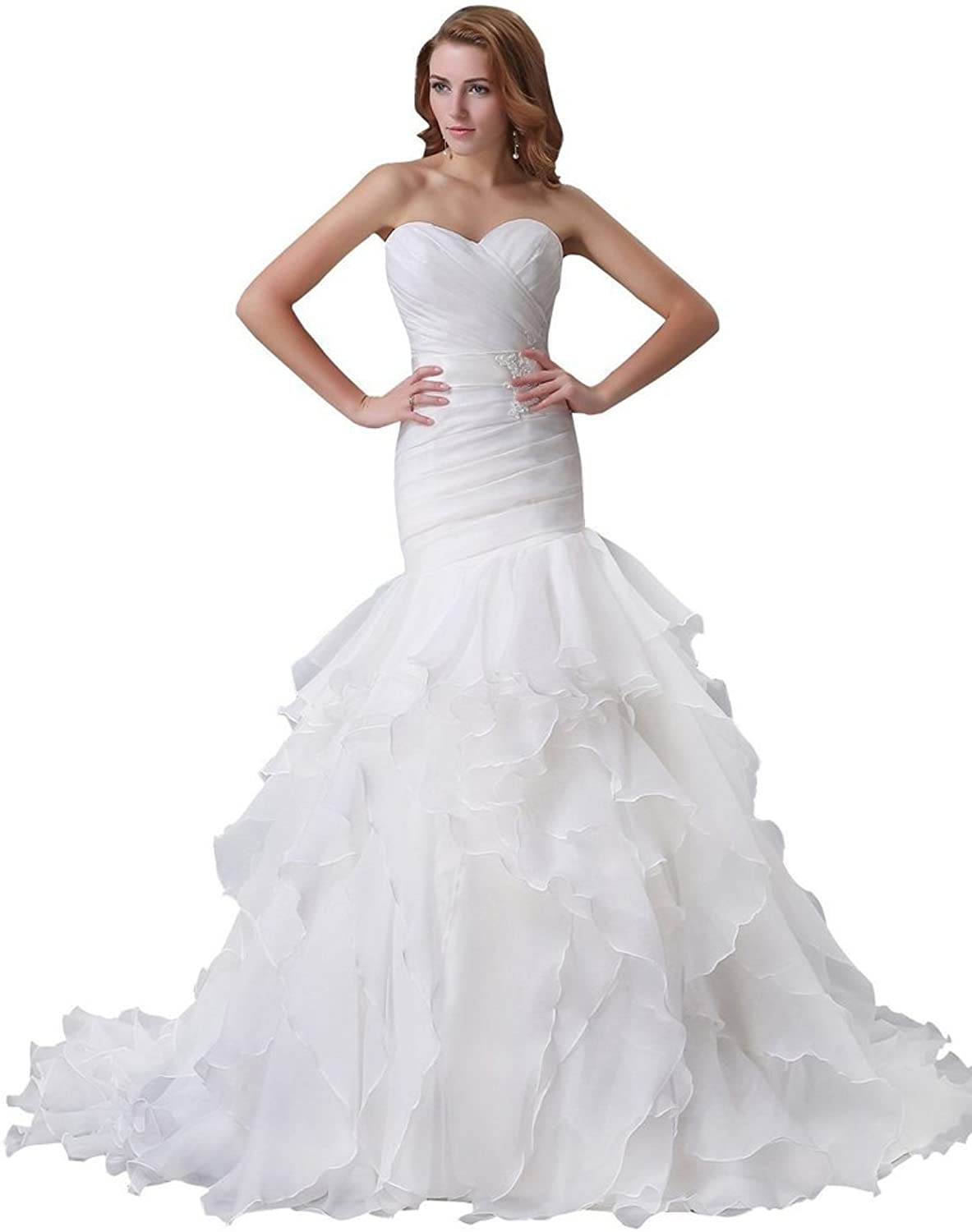 BessWedding Long Wedding Dresses for Brides Mermaid Wedding Gowns with Ruffles