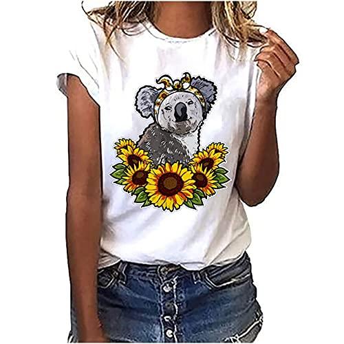 Camisa de alpaca con impresión Koala, color blanco, túnica, deportiva, de verano, para mujer, de manga corta, para adolescentes y niñas, Style_b White, S