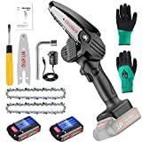 Verniflloga Mini Chainsaw, Mini Cordless Chainsaw Kit With Night Mode, 4-Inch Portable Household Small Handheld Electric Saw for Wood Cutting, Tree Pruning, and Gardening(Black,13 Piece Set)