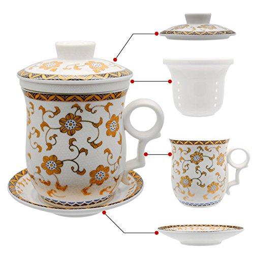 Hollihi Tasse à thé avec couvercle, soucoupe, filtre, en porcelaine chinoise de Jingdezhen