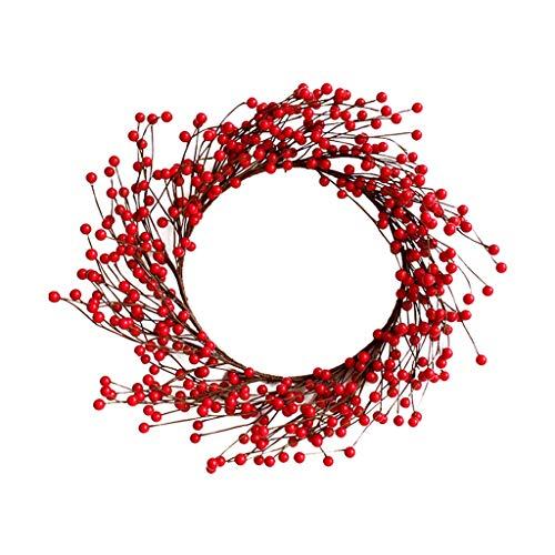 WHL Hängender Kranz Handgestrickte Simulation Red Berry Weihnachtskranz Garland Rattan Tür hängende DIY Dekoration Ornamente Heimtextilien