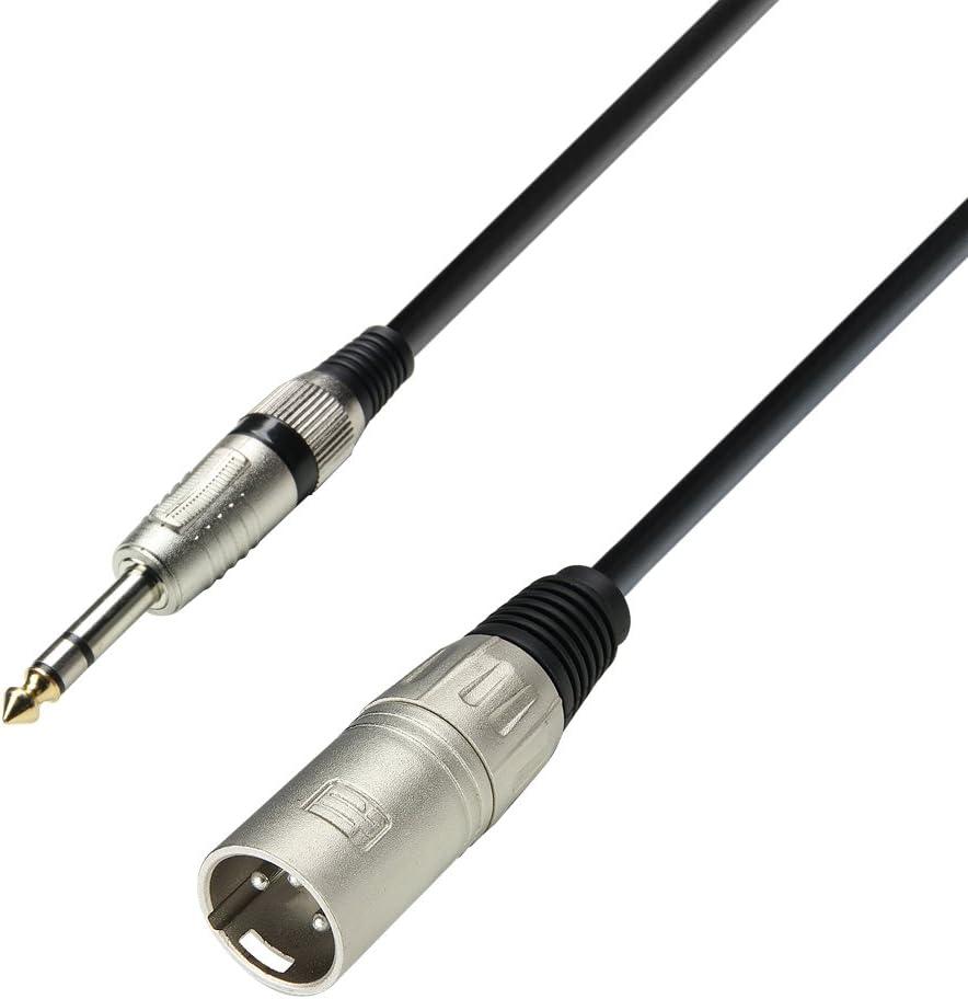 Adam Hall 3 Star Serie - Cable para micrófono (conector macho XLR a conector estéreo 6,3 mm, longitud: 6 m)