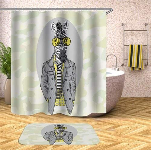 Tierdruck Zebra AFFE wasserdicht Duschvorhang Haushalt Badezimmer Vorhang Stoff Polyester Stoff S.7 150x200cm