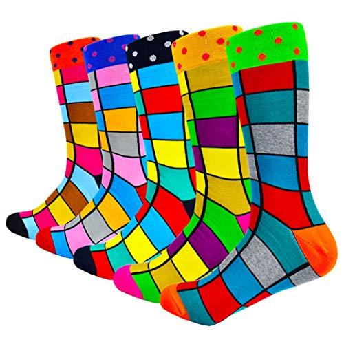 HIWEAR Herren Kleid Bunte lustige Design Komfort gekämmte Baumwolle Crew Socks Pack (Fashion-mix2)