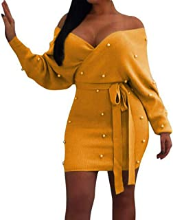 Dress Women Sexy V Neck Knitted Sweater Bodycon Dress - Long Sleeve Sashes Pearl Dress Belted Knitwear
