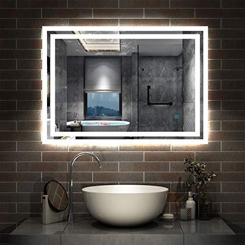 AicaSanitär LED Spiegel Bad 80×60cm Badspiegel mit Beleuchtung Lichtspiegel Badezimmerspiegel Wandspiegel Touch-Schalter Antibeschlag IP44 Kaltweiß energiesparend