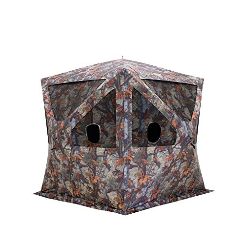 Barronett Blinds Big Cat 350 Portable Waterproof 3 Person Pop-Up Hunting Blind Shelter with Windows, Gun Ports, and Camo Mesh Covers, Bloodtrail Camo