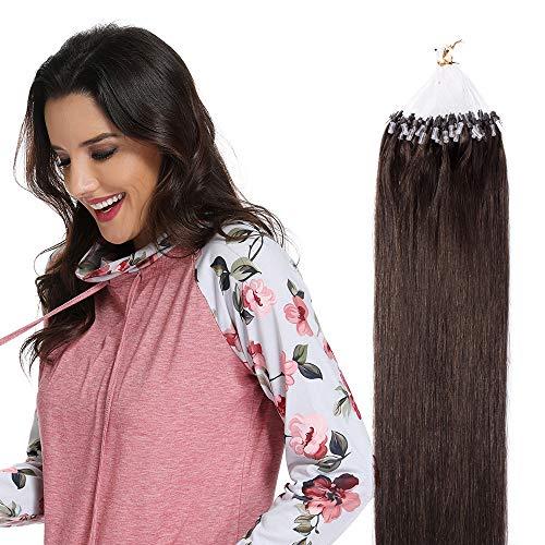 Microring Extensions Echthaar Remy Echthaar Haarverlängerung 100 Strähnen Loop Extensions Echthaar Glatt 50g - 40cm #2 Dunkelbraun