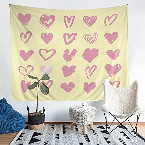 Tapiz romántico para colgar en la pared, diseño de corazón de amor, para el día de San Valentín, para niños y niñas, para cónyuges hipster, diseño de pareja para dormitorio, sala de estar, 152 x 201