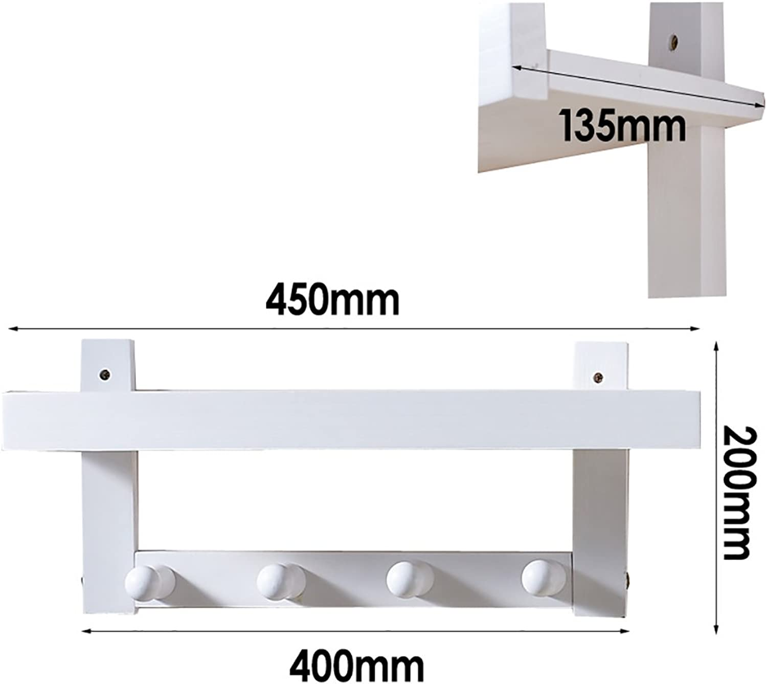 Multi-Functional White Wall Coat Rack, Wall Hanging Solid Wood Shelves Shelves, 3 Kinds of Size Options (Size   45  13.5  20cm)