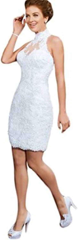 Datangep Women's Short Lace Applique Sheath High Neck Beaded Beach Wedding Dress