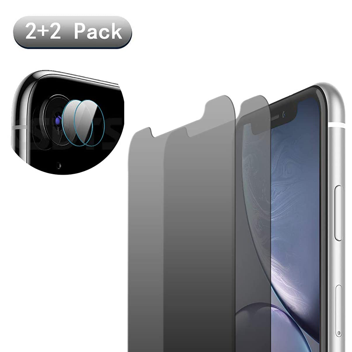 [4 Pack] iPhone XR Anti-Spy Screen Protector Glass and Camera Lens Protector,Full Coverage iPhone XrTempered Glass Privacy Screen Protector [Case Friendly] [Bubble-Free]
