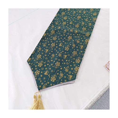 AueDsa Table Runner 32x120CM,Cotton Linen Table Runners Snowflake and Christmas Tree Green Style 5