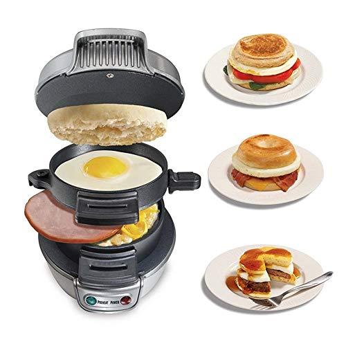 MLQ Máquina para Hacer sándwiches de Desayuno multifunción, máquina para Hacer gofres para Hamburguesas antiadherentes con Mango táctil y pies Antideslizantes, para Cada Uso doméstico y Comercial