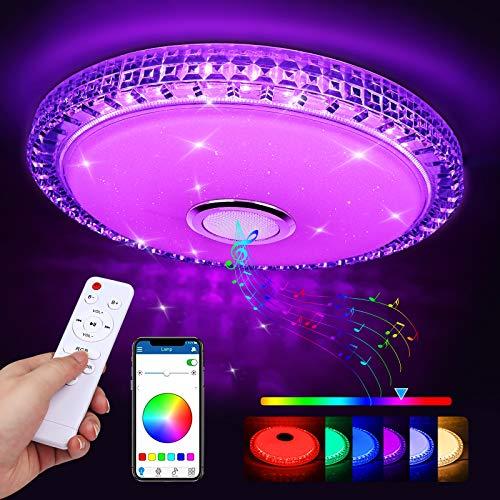 Zorara LED Deckenleuchte Farbwechsel mit Bluetooth Lautsprecher 60W LED Deckenlampe Dimmbar mit Fernbedienung, RGB Musik Deckenlampe Mit APP Steuerung 3000-6500K für Küche Wohnzimmer Kinderzimmer