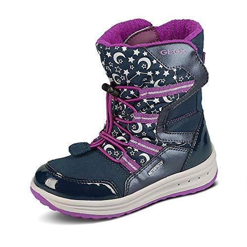 Geox Niñas Botas Roby Girl WPF,ChicaBotas Invierno,Zapatos Aire Libre,cálido,Forrado,Removable Insole,Impermeable,Navy/Cyclamen,25 EU/7.5 UK Child