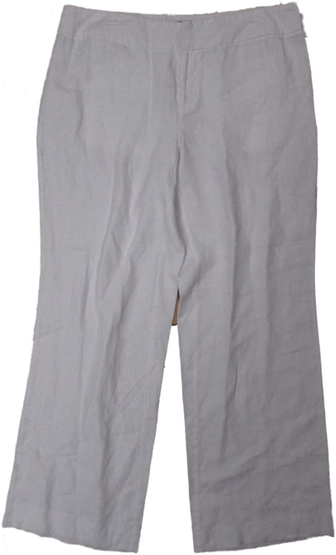 INC International Concepts Women's Casual Rio Linen Dress Pants White