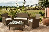 EIVD Juego de muebles de jardín de ratán de 4 piezas, sillas de sofá, mesa de patio al aire libre (color: C)