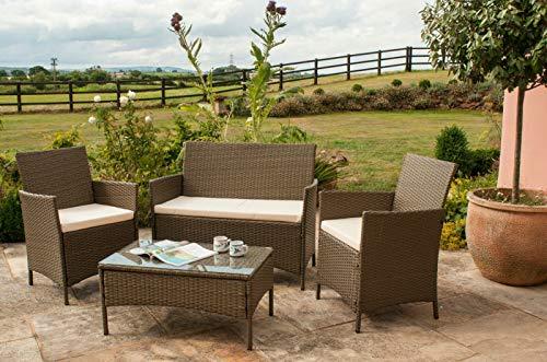 EIVD - Set di mobili da giardino in rattan, 4 pezzi, sedie per divano, tavolo da esterno, veranda (colore: C)