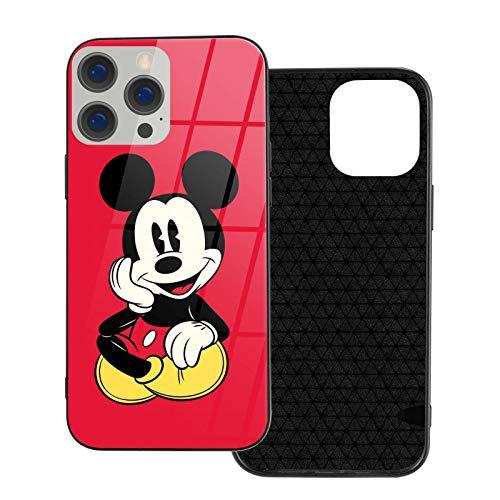 Funda para iPhone 12 Mickey Mouse antihuellas compatible con iPhone 12, compatible con iPhone 12 Pro 6.1/Max 6.7, bonita y duradera funda de vidrio ultrafino