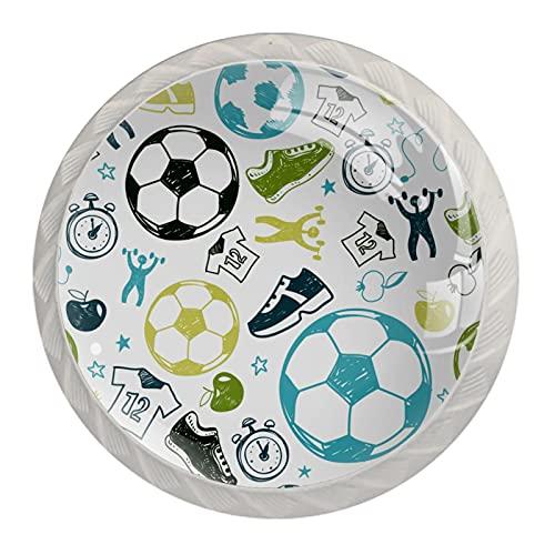 Fútbol, Paquete de 4 Gabinete Drawe Dresser Perillas Modernas Ronda Perillas para Oficina Hogar Cocina Baño
