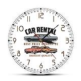 N/ Alquiler de Coches Logotipo de Empresa Reloj de Pared Alquiler de Coches Decoración de Oficina Arte de la Pared Garaje Reloj de Pared Mecánico Conductores Regalo