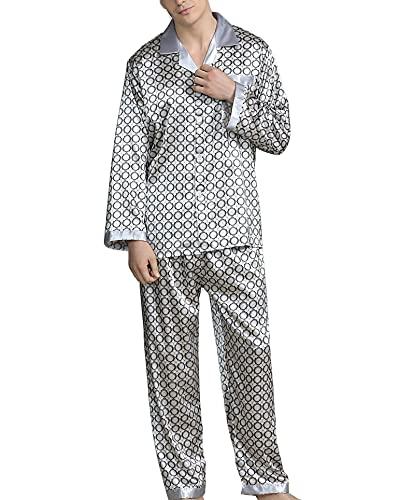 YOUCAI Camisón De Seda Escote En Pico para Hombre, Pijamas De Manga Larga Delgada De Verano, Albornoz De Talla Grande Satinado Y Pijama Kimono,Gris Plata,5XL